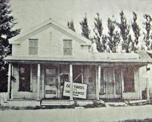 This wooden store was run by the Noyes family, the Humphrey family and later the Stead family (after it was moved to C.R.110)